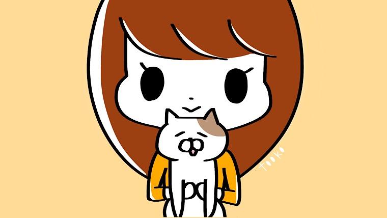 猫を持つ女性のイラスト