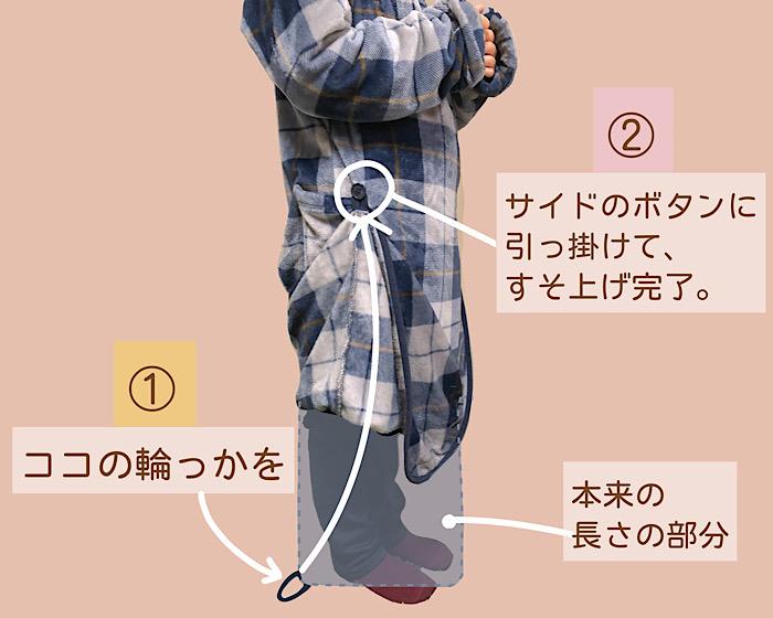 ニトリ着る毛布 Nウォーム q-o ロング NV 裾上げのやり方